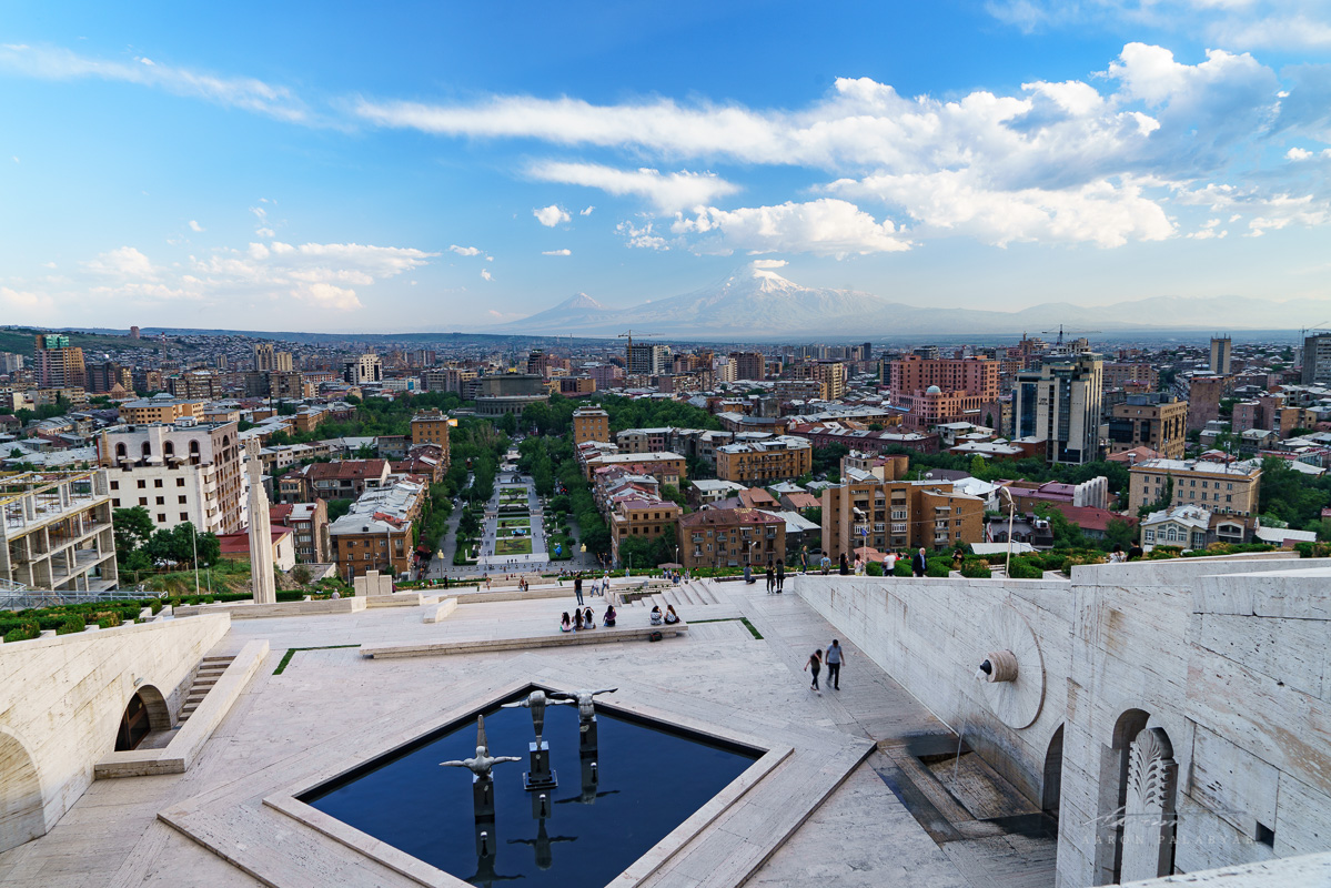Looking at the great holy mountain of Ararat from the top of Yerevan Cascade