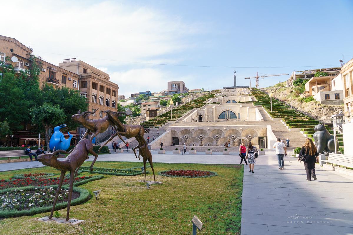 The foot of Yerevan Cascade