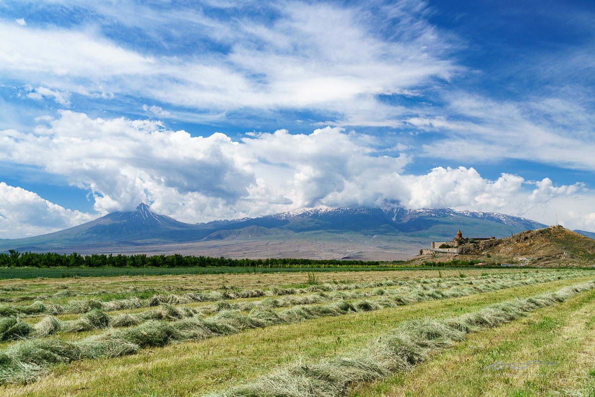 Wider view of Khor Virap with both peaks of Mt. Ararat