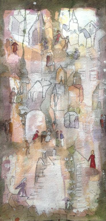 Stad i ljus Akvarel Mått 32x52