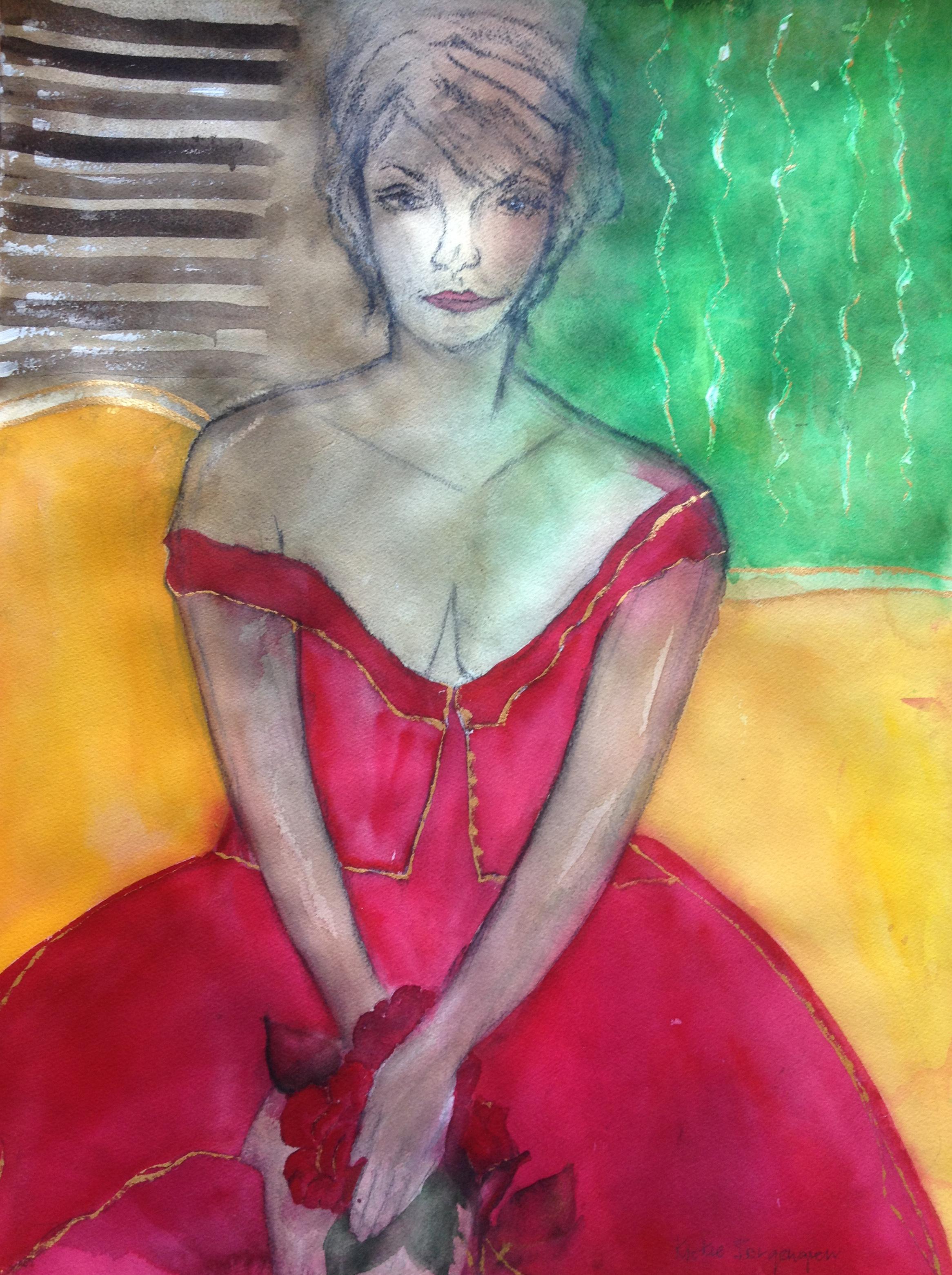 Den röda rosen/ Varsamhet Akvarell