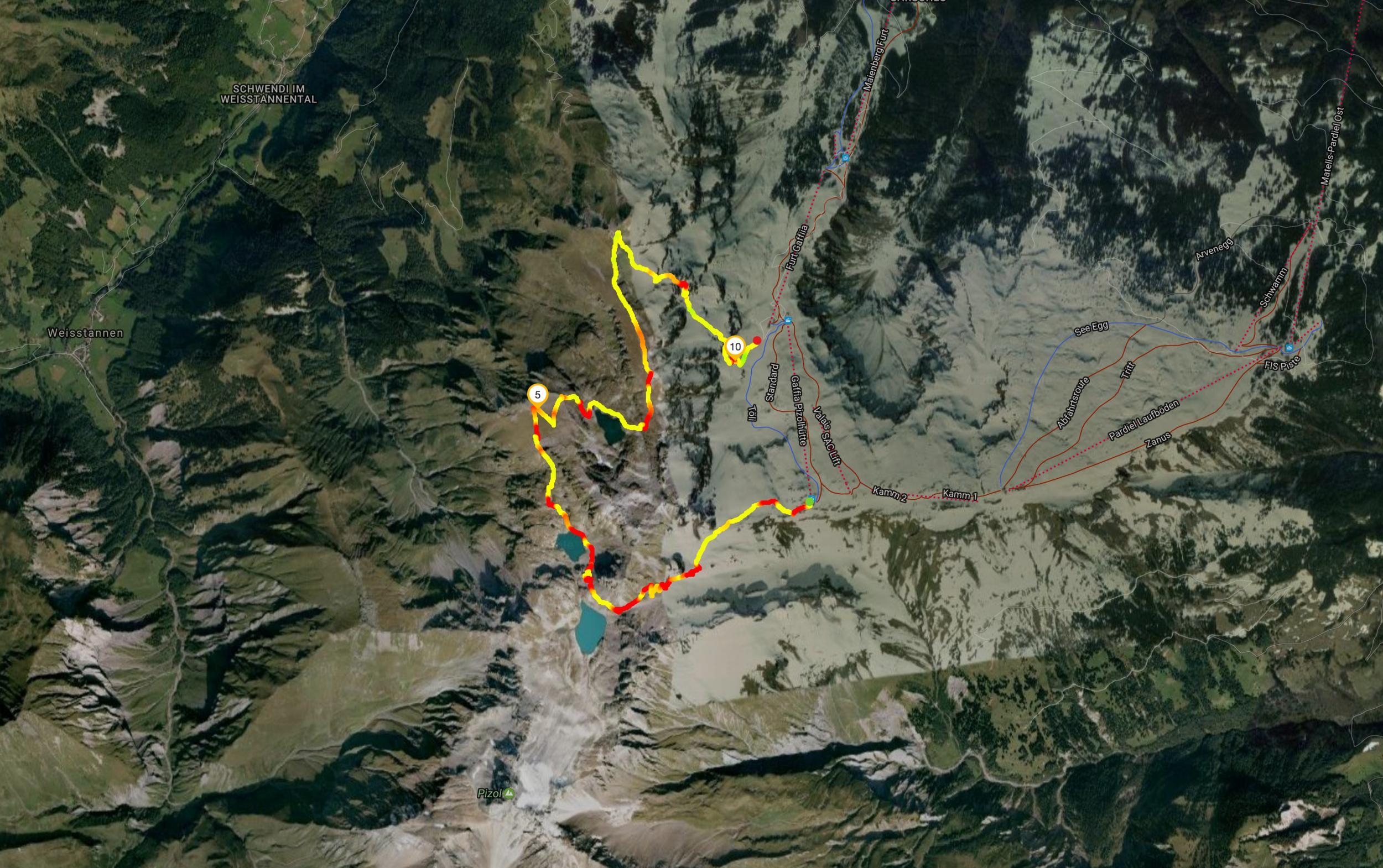 Route Pizolhütte - Gaffia