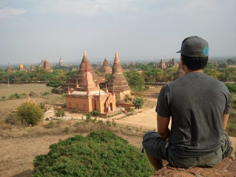 Vitug on top of an ancient temple in Bagan, Myanmar.