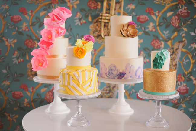 custom-wedding-cakes-brights-floral-stripes-gold-glitter.jpg