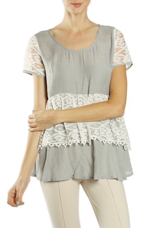 Lace Layering Vest with Chiffon by A/'reve