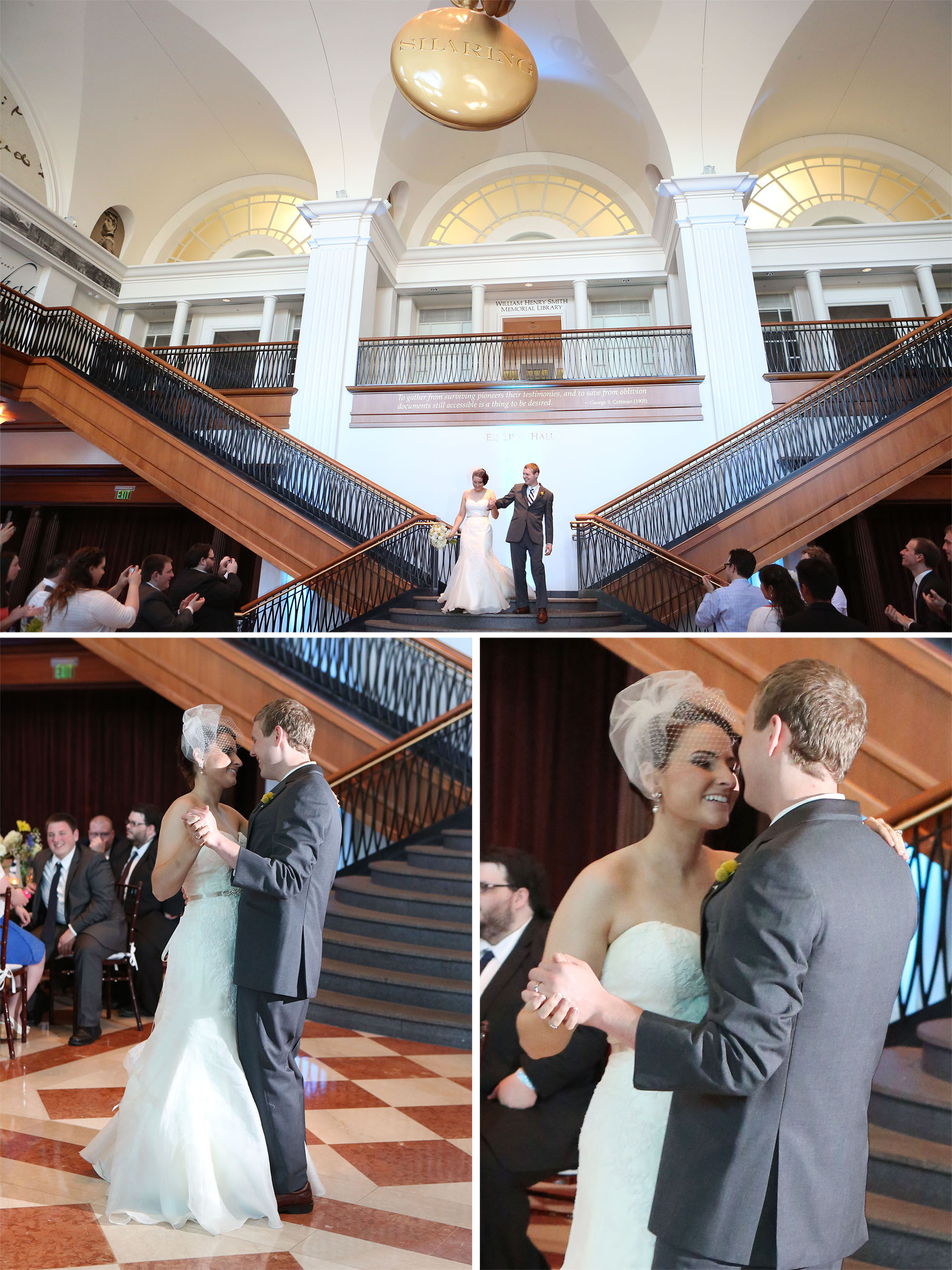 The grand staircase at the  Indiana Historical Society  made for the most dramatic bridal party entrance ever! Loved it!