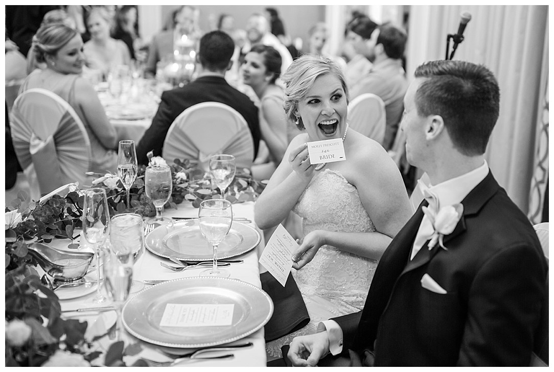 I love her face as she sees her new name on the place card!