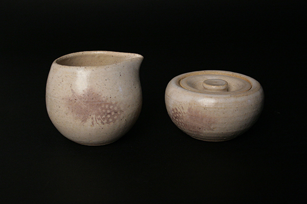 Feather Cream & Sugar Set 2014 Ceramic Decal on Stoneware