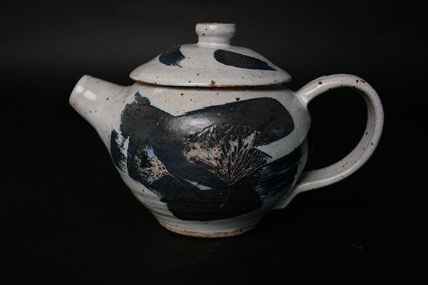 Ginkgo Teapot 2013 Stain and glaze on stoneware, hand-etched design