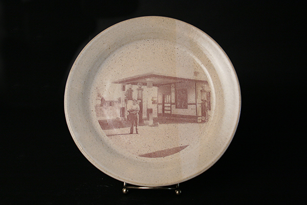 """Harold's Filling Station 2014 Ceramic Decal and Glaze on Stoneware 10"""" diameter"""