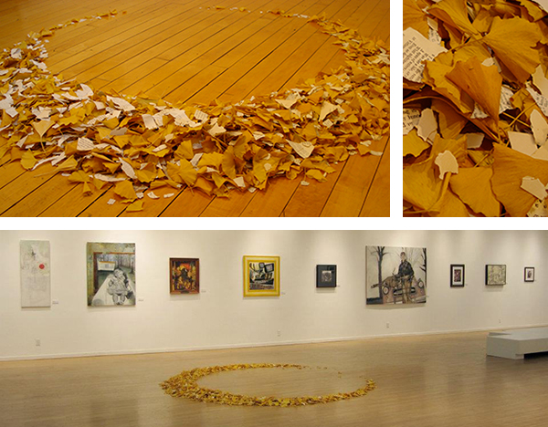 Temporal, Cyclical 2009 - 2012 Torn Paper and Ginkgo Leaves Size Variable 4' - 9' Top Left: Installed in Maybeck Gallery, Principia College 2009 Top Right: Detail Bottom: Installation View, Art Saint Loui, January 2012