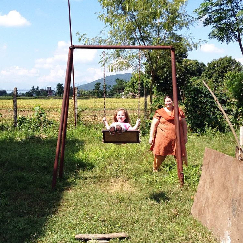 Fun on the swings!