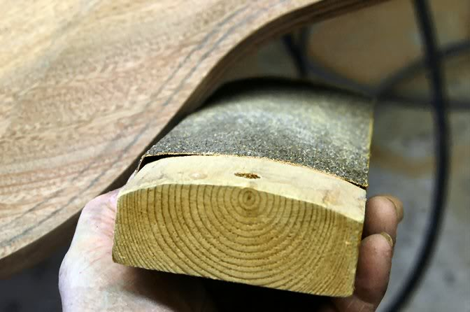"""Or for a more """"tactile"""" approach, make a curved sanding block and sand. Using the pencil marks to indicate the areas that still need attention, continue until it is all evenly done. Follow up with a finer grit paper and that little facet is complete."""