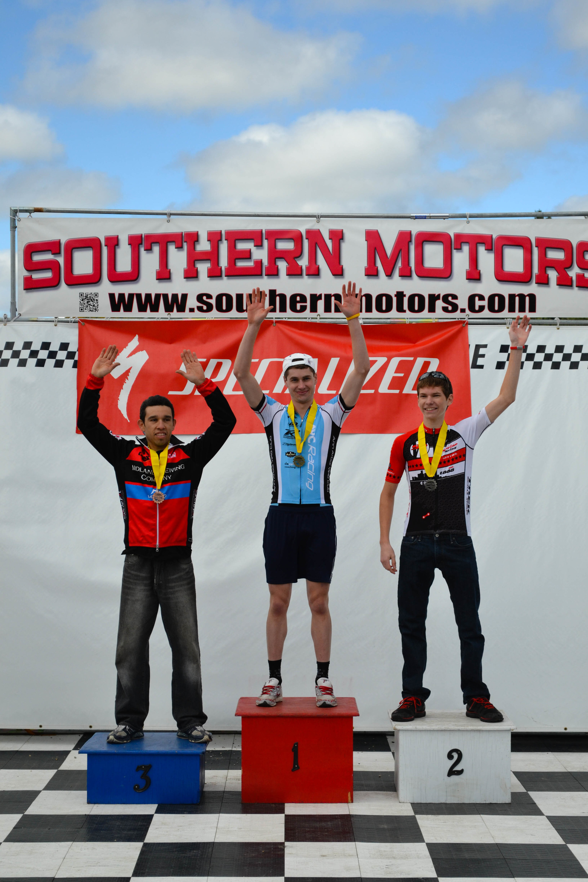 Danny on the podium for winning the Men's Category 4 race!