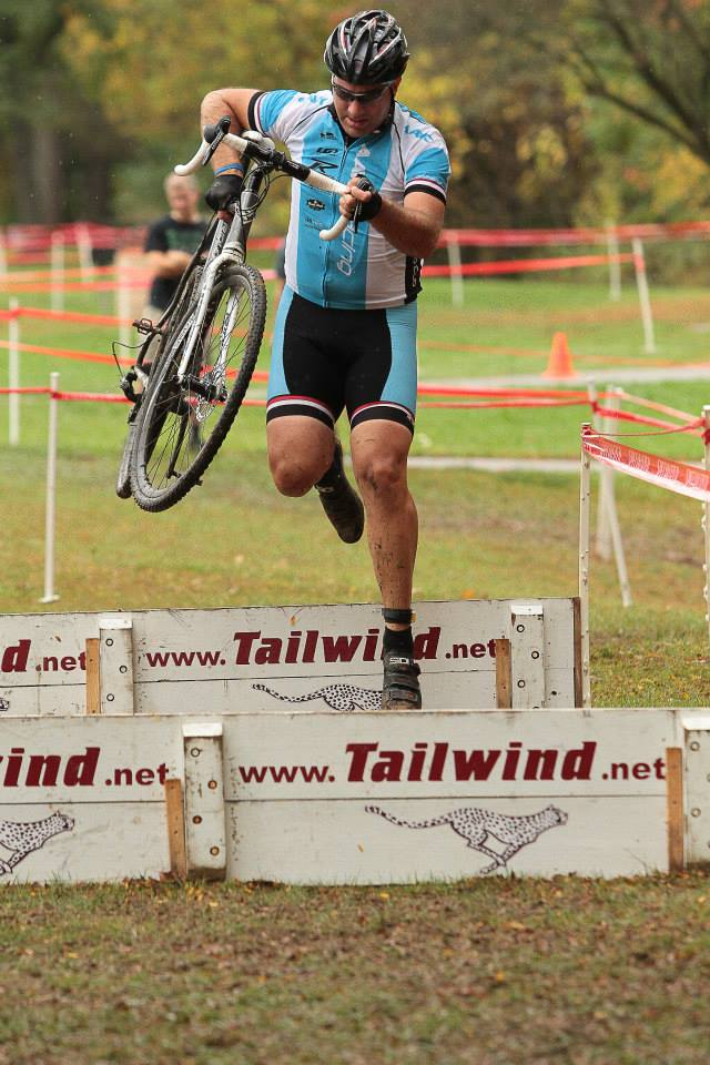 Kurt jumping some barriers. Even big guys can fly! Photo courtesy of Bob Bruce.