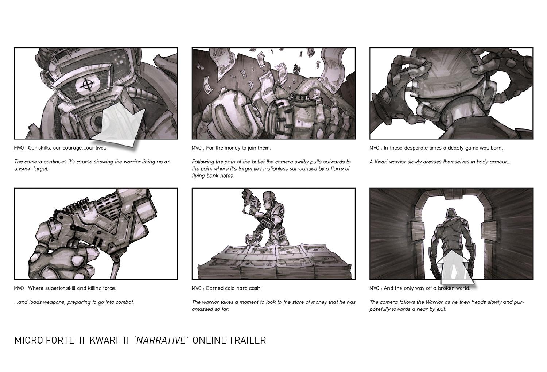 Kwari online trailer storyboard