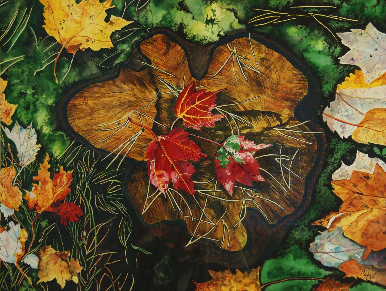Maple Leaves on Stump - Sold