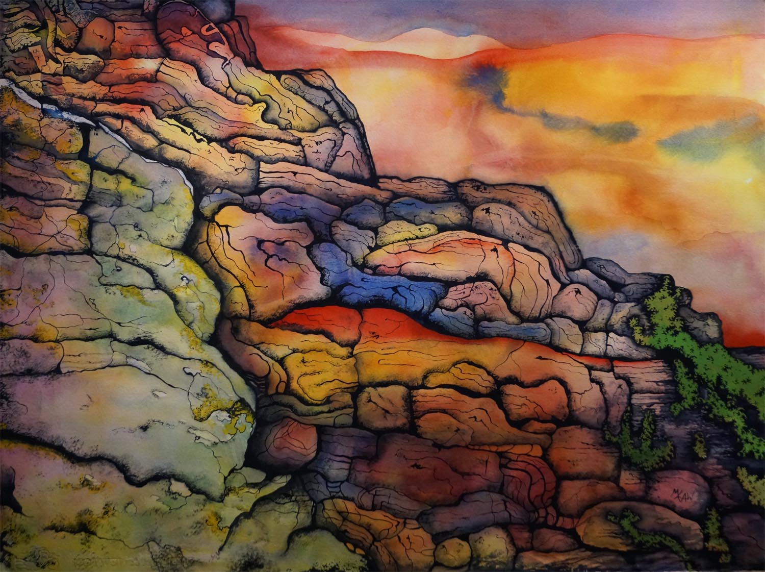 Rock at Sunset - Sold