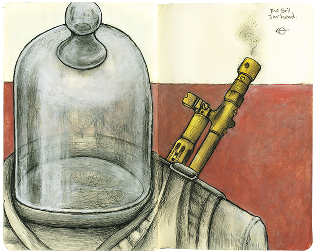 "The Bell JarHead - 8 3/32"" x 10 3/32 - Ink and Gouache - $1,100"