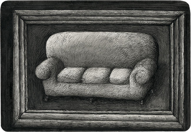 "Thomas Kinkaid's Couch (Sofa Painting) - 5 5/8"" x 8 3/32"" - Ink on Paper - $900"