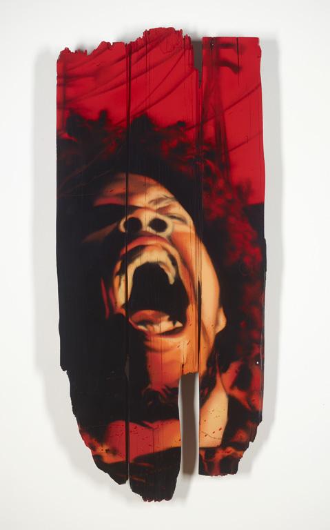Dare Iz A Dark Side – spray on wood 35 x 15.5 - $900 - sold