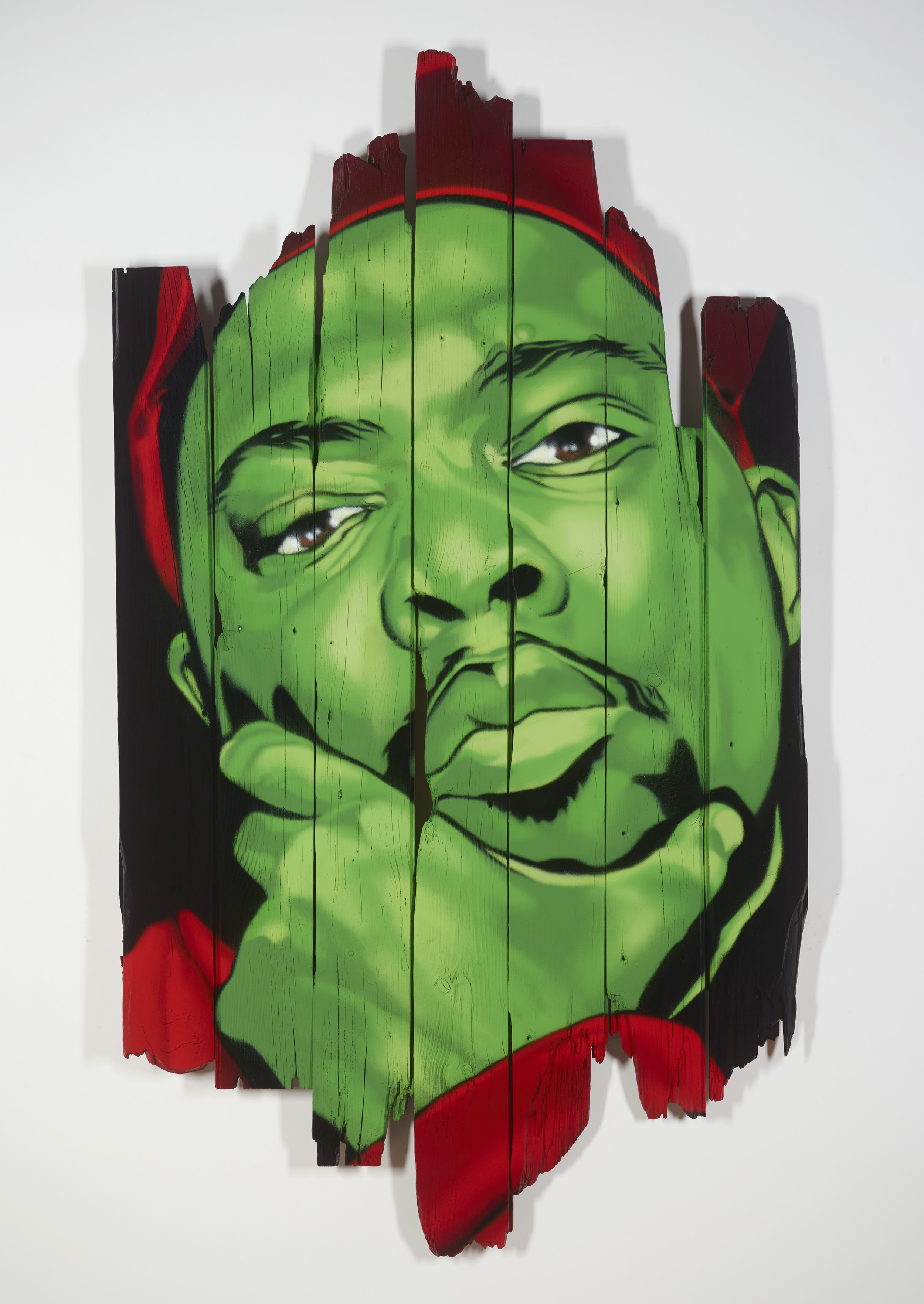 The Five Foot Assassin – spray on wood 64 x 36 - $1400