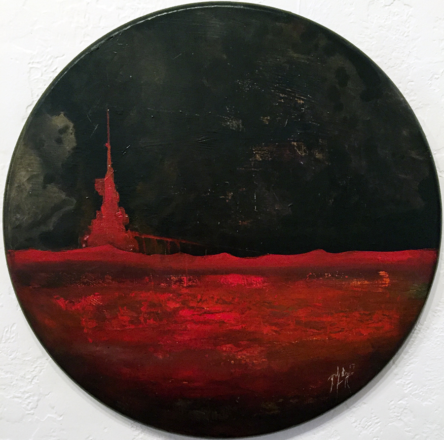 Zach Briggs – Red Tower – Oil on Wood – 24 inch diam - $600