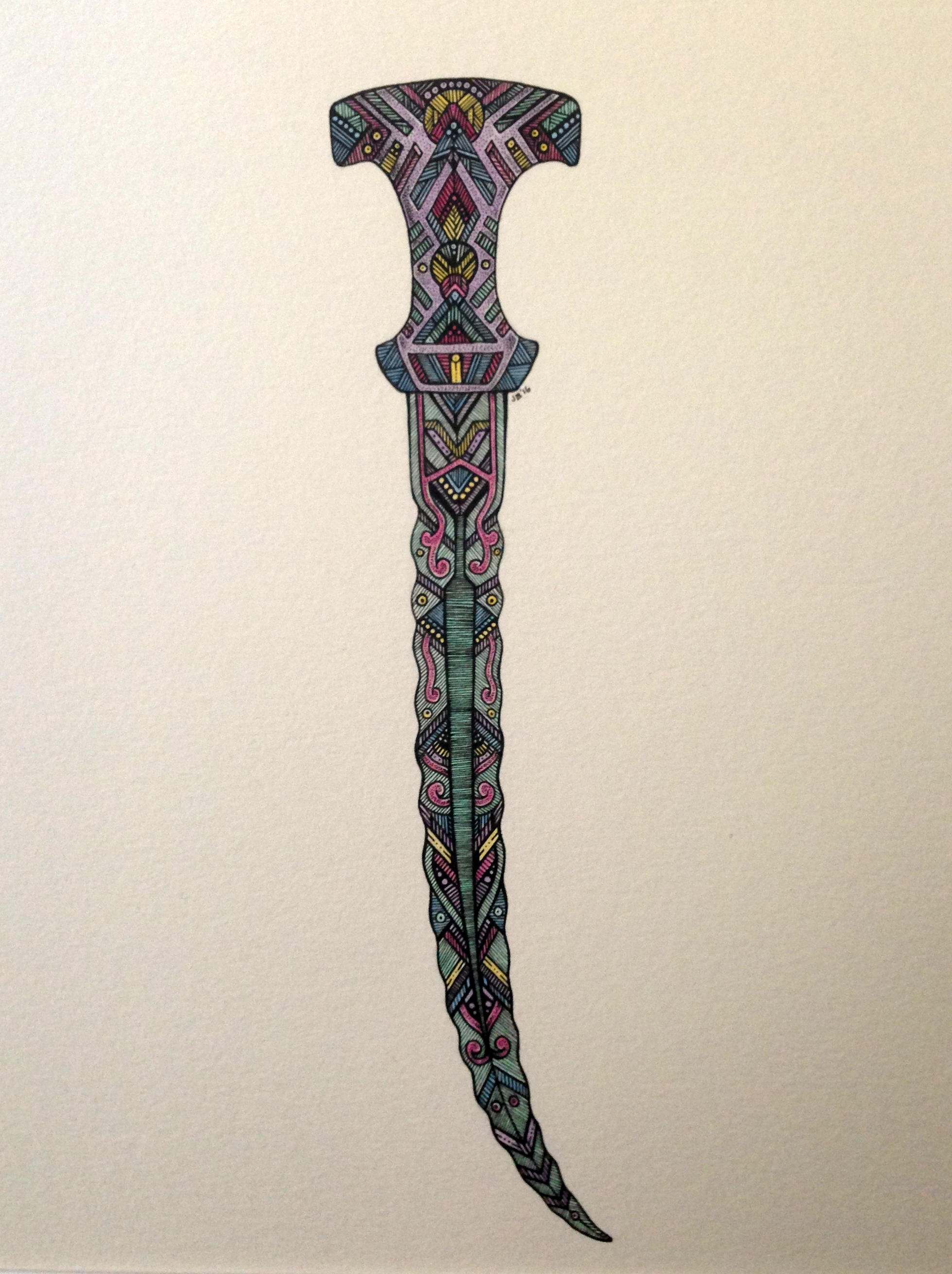 Justine Briggs – Ritual Knife II – Ink & Watercolor on Paper – 15 x 13 inches - $250