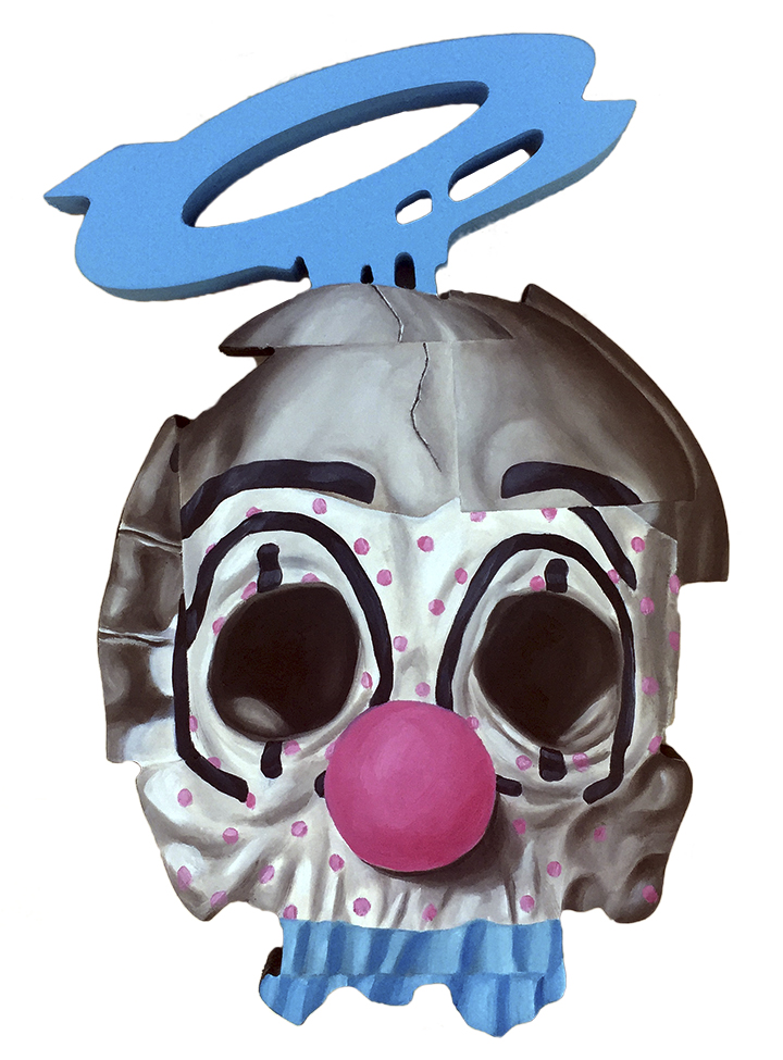 """Clown Angel  Oil, spray paint on wood panel cutout  9""""x 14""""  $400"""