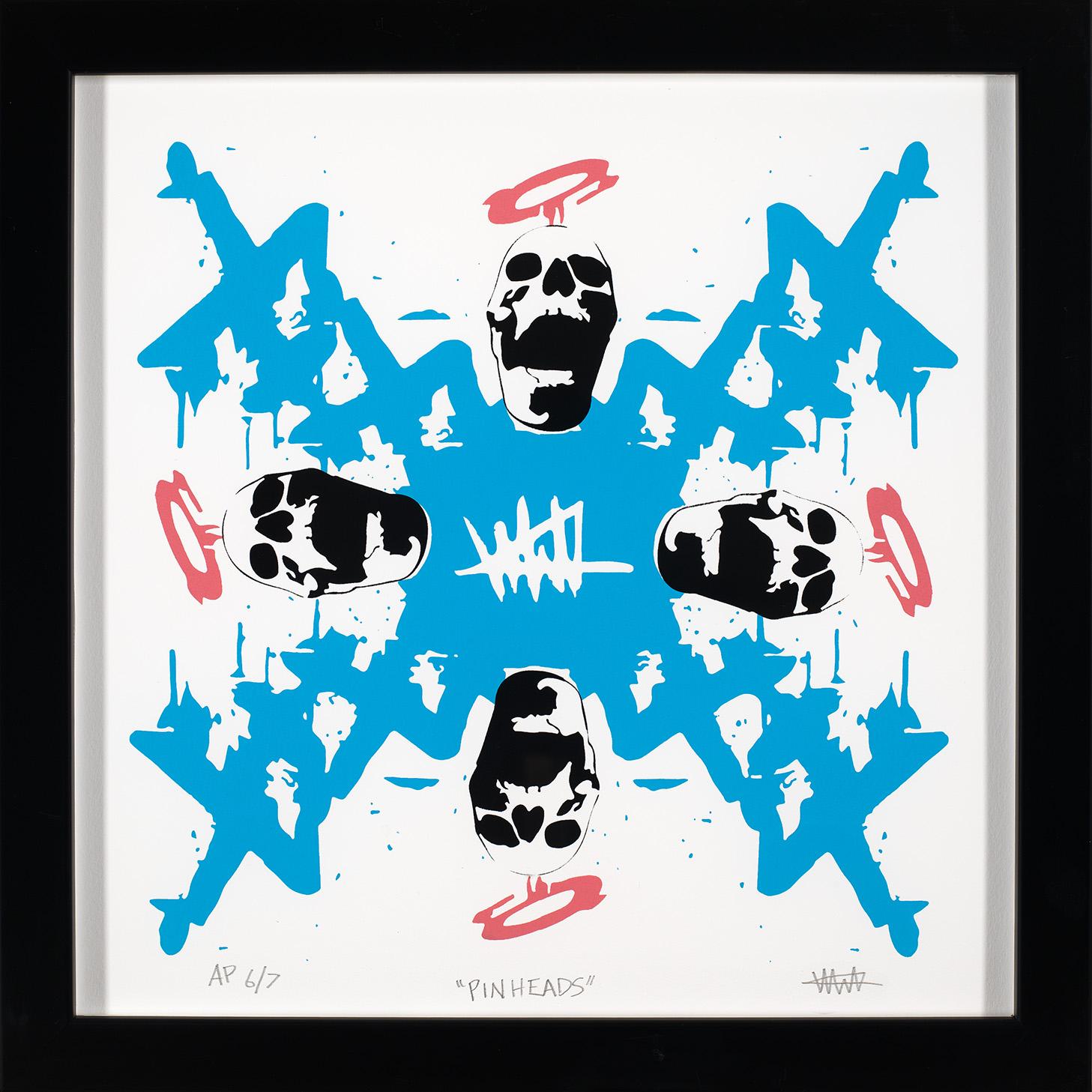 "Pinheads (AP 6/7)  3c screen print on cotton rag paper 15""x15"" (framed)  $250"