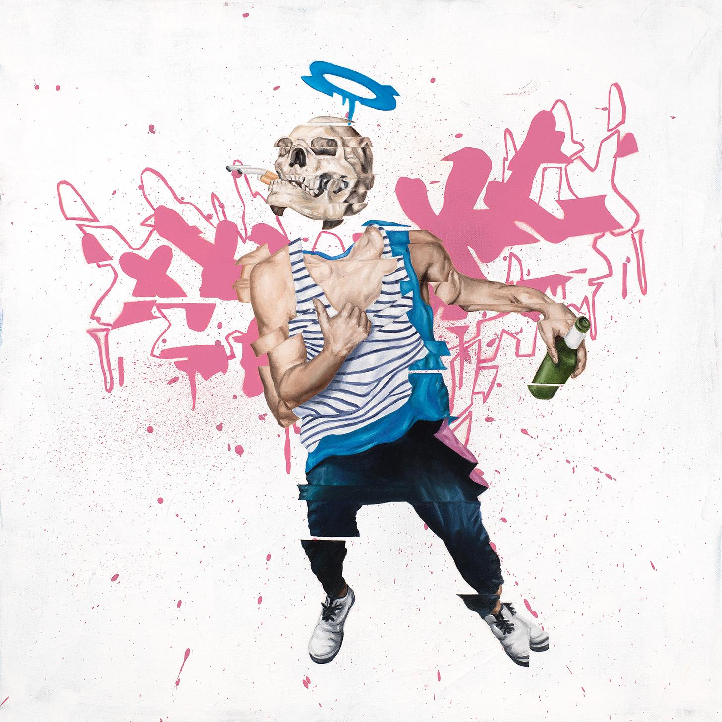 """Drink & Fly  Oil, spray paint, acrylic on canvas 18"""" x 18"""" (20""""x20"""" framed)   $1,500"""