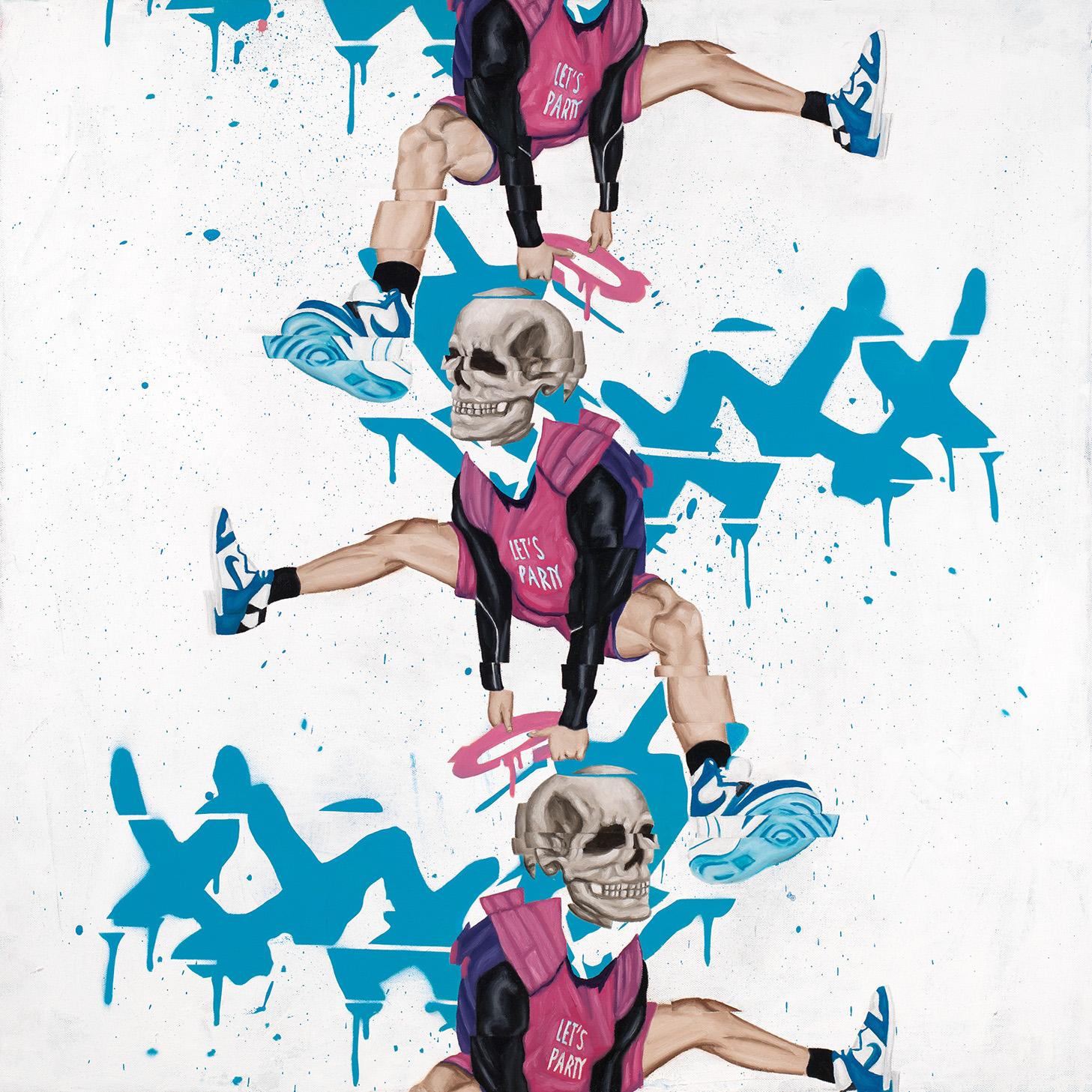 """Chain Gang  Oil, spray paint, acrylic on canvas 24"""" x 24"""" (26""""x26"""" framed) $2,000"""