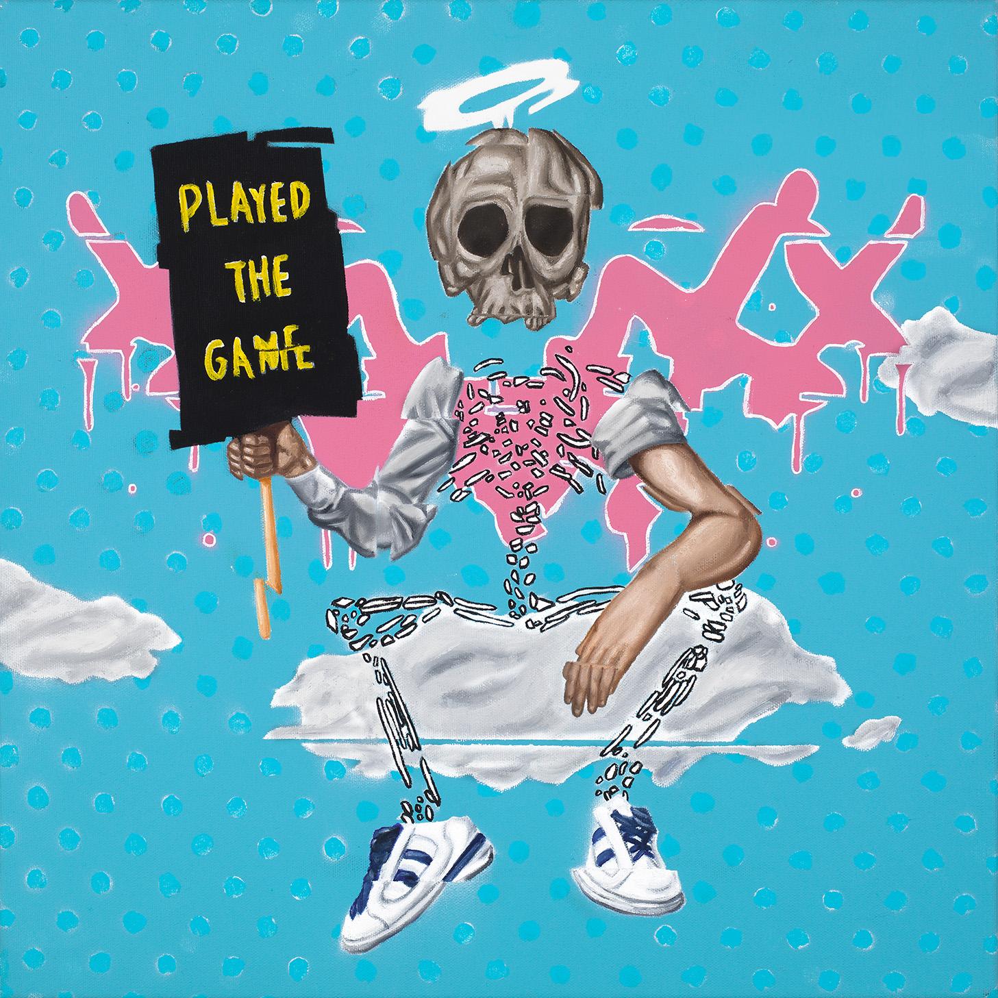 """Play On, Player  Oil, spray paint, acrylic on canvas 18""""x18""""  $1,350"""