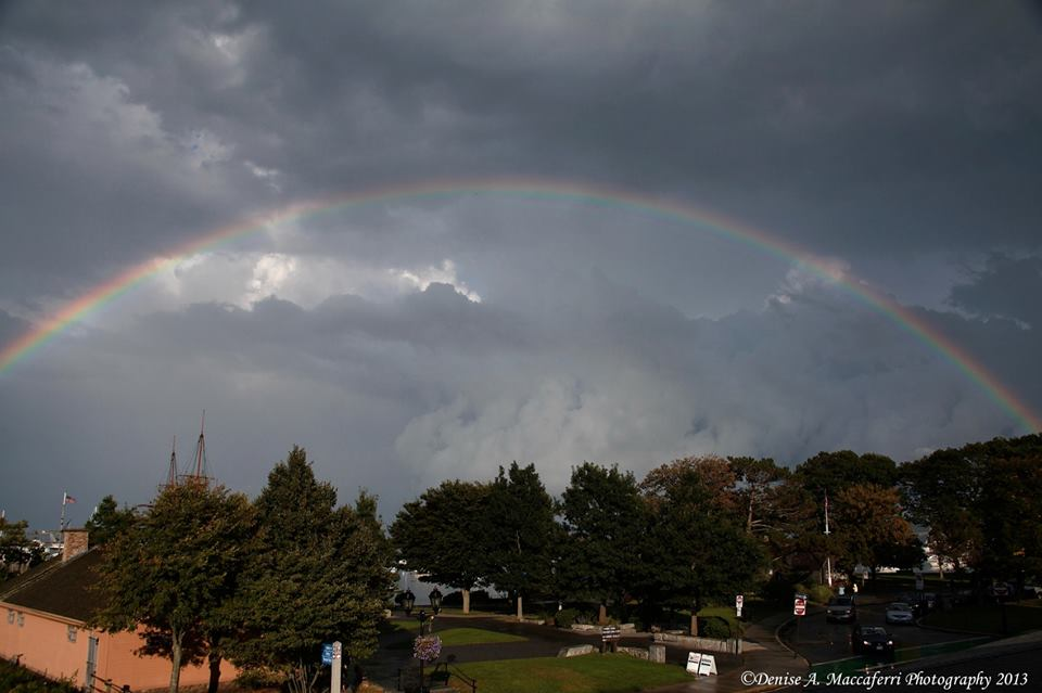 Gorgeous shot of the rainbow, as seen at Plymouth Harbor. Photo captured by the awesome Denise Maccaferri.