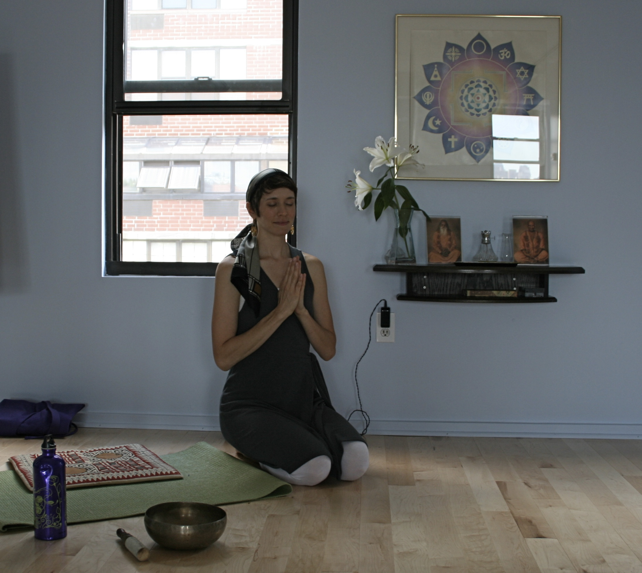 Gita during her early days of yoga training, on a retreat in nyc