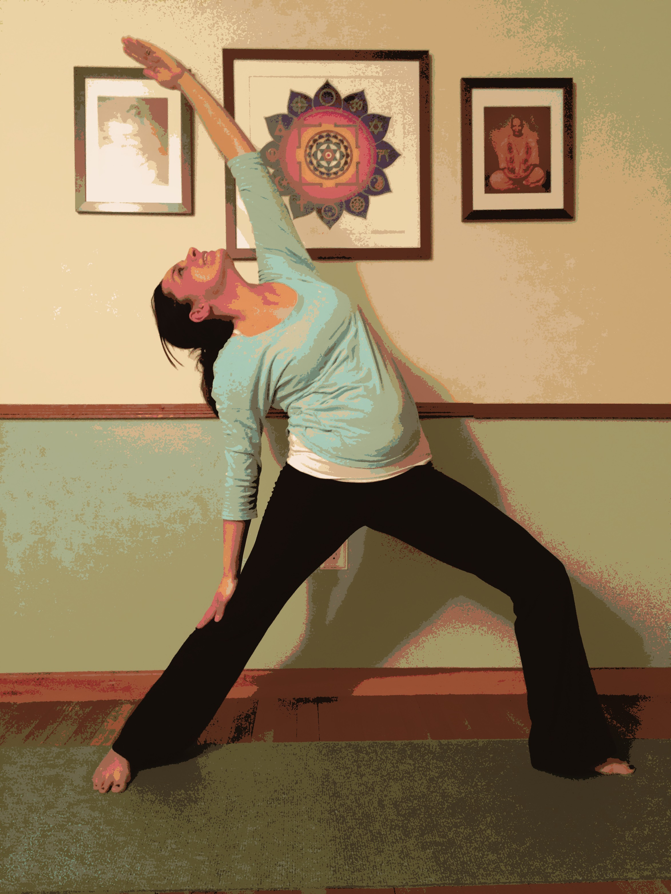 Jessica rocks a reverse warrior pose at Gita's home studio-feel the power and grace!