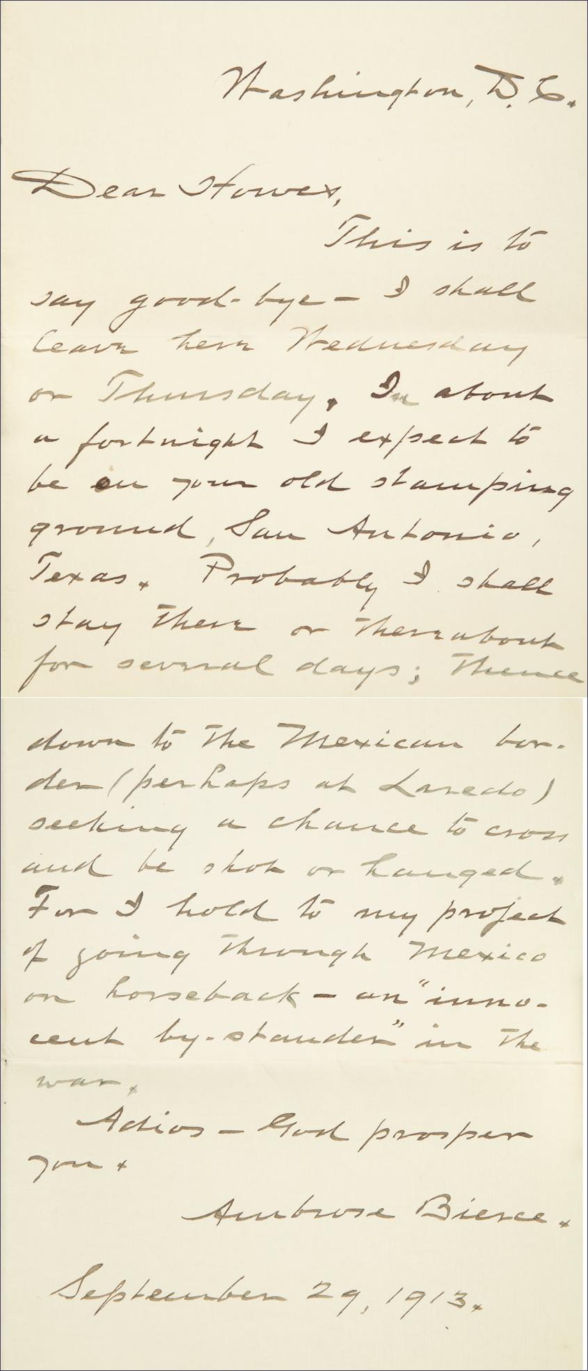 "Bierce's letter to a friend saying ""Good Bye"""