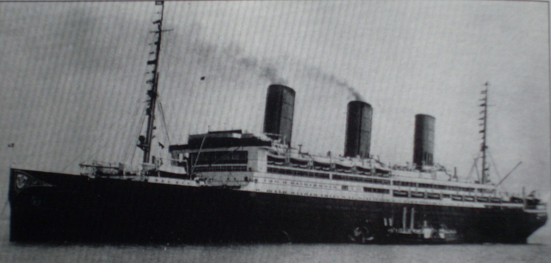 The  SS Vaterland , after World War I renamed  SS Leviathan  under the American flag. Technical data: Length: 950 feet (Titanic 882 feet, Lusitania 787 feet); Width: 100 feet (Titanic 92 feet, Lusitania 87 feet); Draught: 36 feet (Titanic 35 feet, Lusitania 34 feet); Gross Registered Tons: 54,282 (Titanic 46,328, Lusitania 31,550); Crew: 1,234 (Titanic 885, Lusitania 850); Passengers: 3,909 (Titanic 3,547, Lusitania 2,198); Engines: 4 Blohm and Voss Steam Turbines, 100,000 hp (Titanic 59,000 hp, Lusitania 76,000 hp); Max Speed 26.3 Knots (Titanic 23 Knots, Lusitania 26.7 Knots)