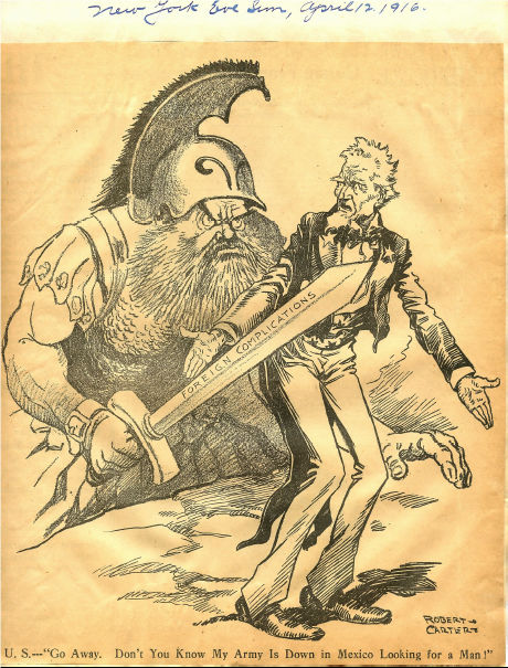 This cartoon was in the papers of the German spymaster Heinrich F. Albert. It shows the glee with which Germany viewed the unfolding events in Mexico.