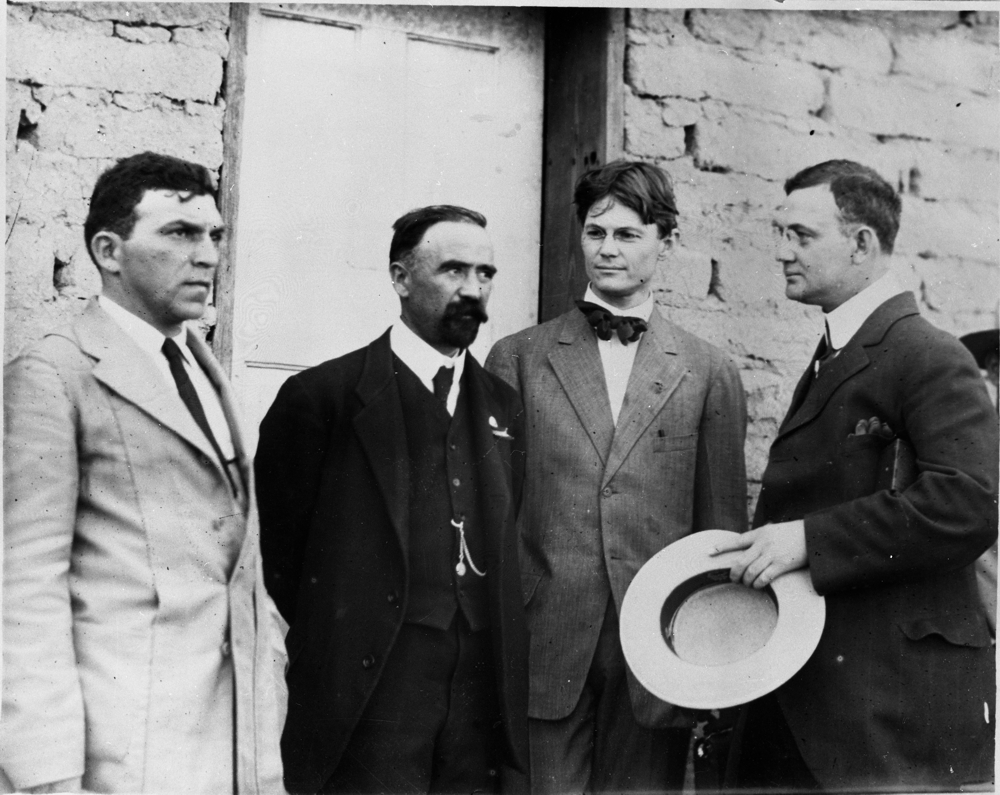 Felix A. Sommerfeld (left) next to Francisco I. Madero. Also Allie Martin and Chris Haggerty, both journalists.
