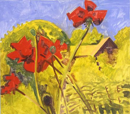 Red Poppies and House