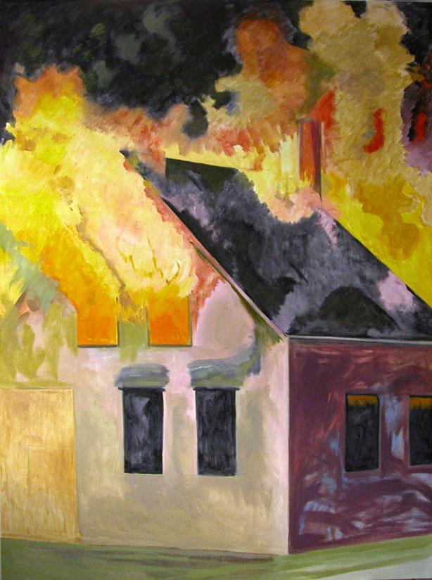 Burning House, Night, Vertical