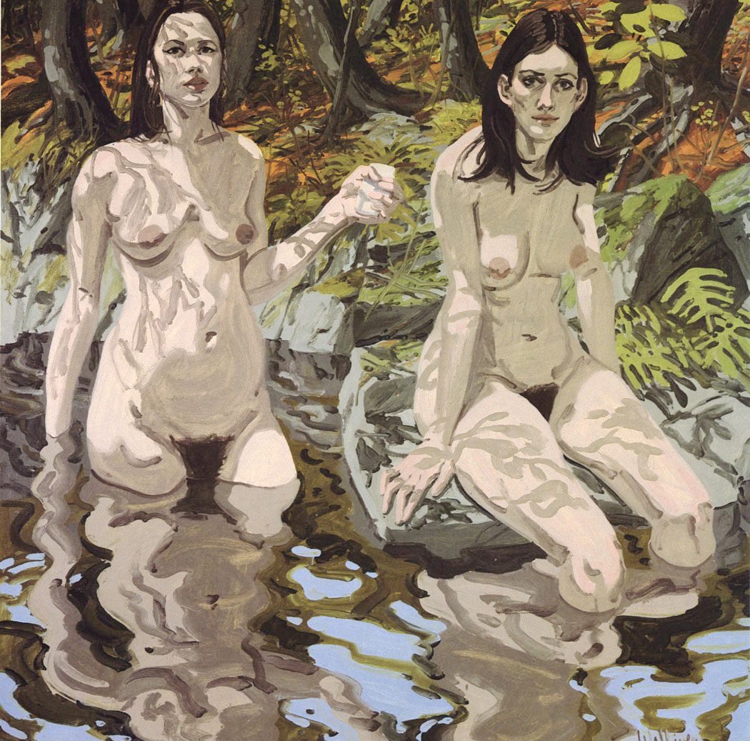Two Nudes in a Forest Pond