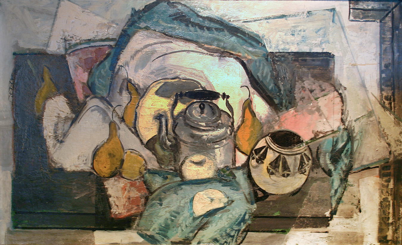 Still Life With Tea Kettle, Fruit and Bowl