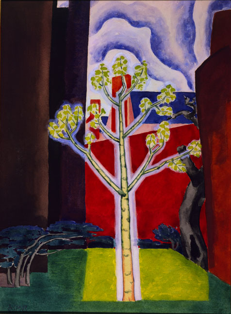 Young Tree in a Red Courtyard