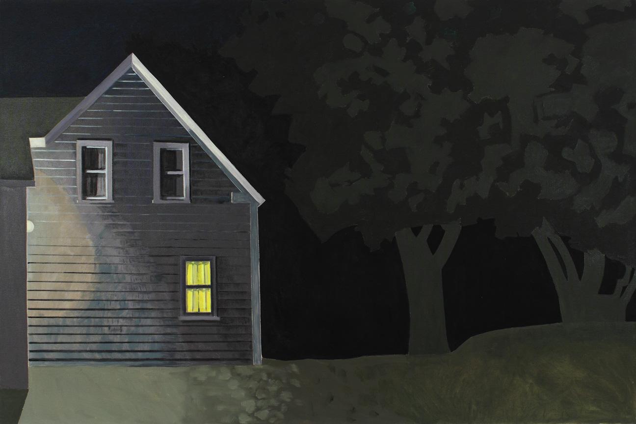 Night House with Lit Window