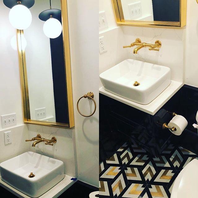 Love this bold powder bath! #cagleyconstruction  #cagleycustomhomes  #finepaintsofeurope #luxuryhomes  #luxuryhomebuilder #powderbath