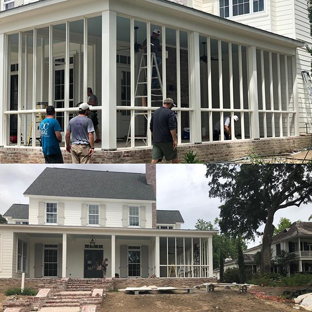 When it's 95 degrees outside, you throw some Hunter fans up, paint the ceiling blue and build a screened in porch...Happy Friday in the South! #cagleyconstruction #cagleycustomhomes  #screenporch  #lsulakes