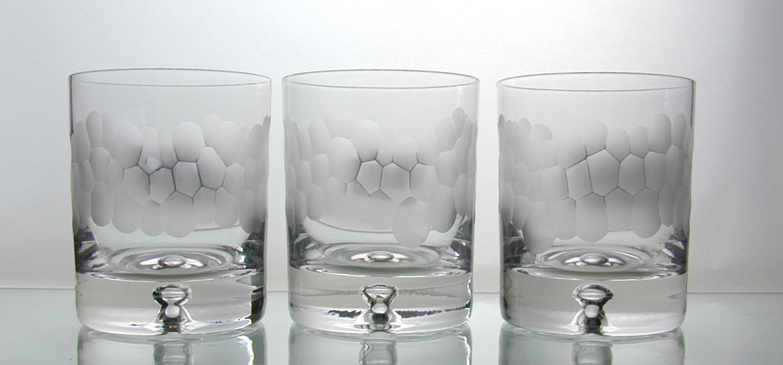 Hand cut glass tableware