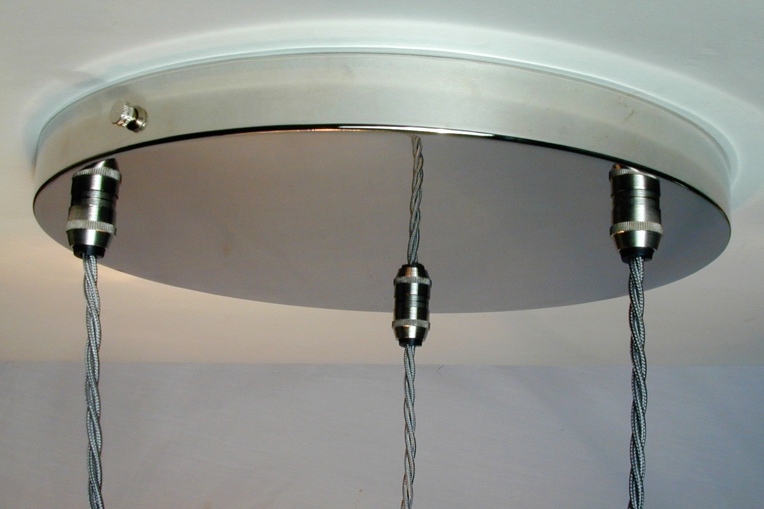 260mm Nickel silver ceiling plate for three pendant shades.